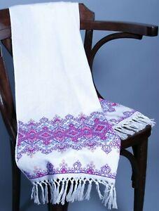 200x33 cm Ukrainian RUSHNYK Hand Cross-Stitch Violet Embroidery Rustic WEDDING