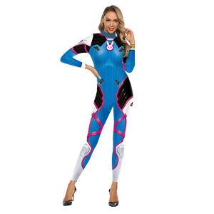 UK HQ Overwatch D.Va Cosplay Costume Lycra DVa Bodysuit Jumpsuit Suit Outfit