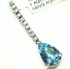 2.6ct 14k Oro Natural Corte Aguamarina Diamante Blanco Vintage Compromiso Collar