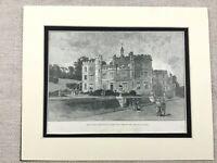 1887 Antique Print Mount Edgcumbe House Cornwall Cornish Landscape View
