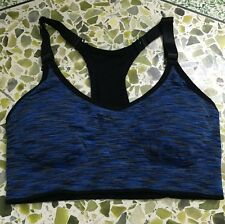 Seamless Lady Sport Bra Yoga Fitness Running Tank Top Padded Stretch Workout Lot Blue S