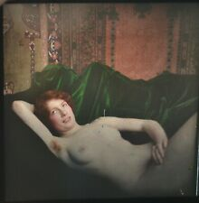 Rare Glass Autochrome Stereoview Photo Art Nude Redhead & Green Blanket 130x70mm