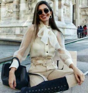 ZARA Vanilla Semi Sheer Organza Blouse Top with Bow Detail S BNWT