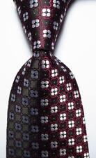New Classic Checks Wine Black White JACQUARD WOVEN 100% Silk Men's Tie Necktie