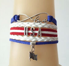 Infinity Love- USA Flag Charms European Leather Bracelet Red/Blue/White