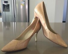 NWOT Pale Gold PEDDER RED Snakeskin Leather Stiletto Pumps Shoes Size 35