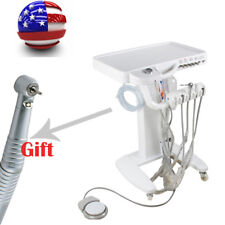 Portable Dental Delivery Unit Mobile Cart Work Compressor Machine+LED Handpiece