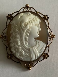 Fine Victorian Antique 9ct Rose Gold Carved Shell Cameo Brooch