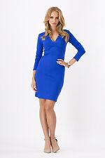 Women's Coctail Pencil Dress Long Sleeve Tunic V Neck Bodycon Sizes 8-18 2913