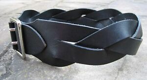 S - Country Road Wide Woven Black Leather Belt womens with oblong metal buckle