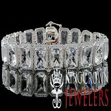 14K WHITE GOLD ON STERLING SILVER MENS LADIES LAB DIAMOND CRYSTAL CLEAR BRACELET