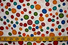 POLKA DOTS MULTI COLORS ON WHITE 100% POLYESTER NO STRETCH FABRIC BY T 1/2 YARD