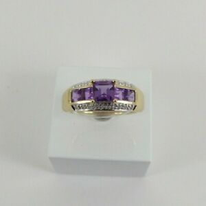9ct Gold Diamond Amethyst Ring Band Eternity NEW Hallmarked Size O with Gift Box
