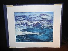 Atelier 17Ruth Cyril Colored Etching Le Battage Mer '64 Villon Searle Delaunay