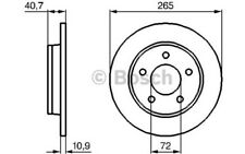 1x BOSCH Disco de Freno Trasero Pleno 265mm Para MAZDA 3 0 986 479 C77
