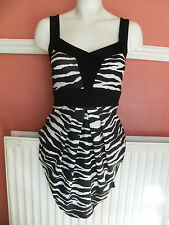 JANE NORMAN 10 8 BLACK WHITE ZEBRA ANIMAL summer mini stretch BODYCON DRESS 10
