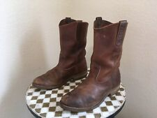 USA VINTAGE DISTRESSED BROWN 1155 RED WING CHORE FARM WORK BOOTS 8 E