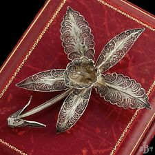 Antique Vintage Nouveau Sterling 800 Silver Filigree Cannetille Orchid Brooch