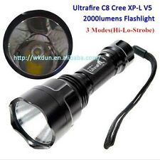 UltraFire C8 Cree XP-L V5 1A 3 Modes (H-L-S) 2000 Lumen Led Flashlight XPL Torch