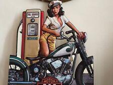 XXL Blechschild 70x60cm Metall geprägt Motorbike Werkstatt Pin-up Vintage