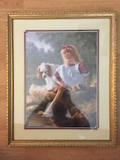 "Homco Home Interiors Picture Girl With Spaniel Dog "" A Day Together� Euc Framed"