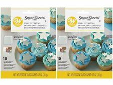 36 Pc Wilton Sugar Sheet Star Design Cake Cupcake Decorate Silver White NEW 2 Pk