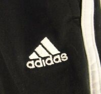 MEN'S ADIDAS TRACK GYM RUNNING BASKETBALL ALL SPORTS PANTS BLACK WHITE LARGE