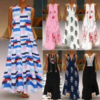 Women Sleeveless Bohemia Kaftan Long Maxi Dress Beach Party Shirt Sundress 2019