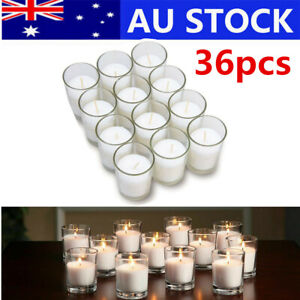 36pcs Votive Glass Tealight Candle Holder Indoor Elegant Gift Wedding Light AU