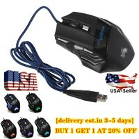5500DPI LED Optical USB Wired Gaming Mouse 7Buttons Gamer Computer Mice -US