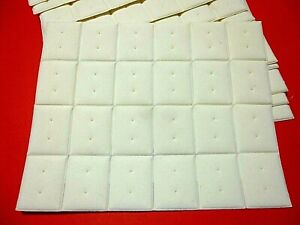 48 x PADDED JEWELLERY DISPLAY INSERTS - PLAIN CREAM WITH 2 HOLES - 29mm x 35mm