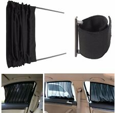 2PC Adjustable Car Window Mesh Interlock Curtain UV Sunshade Visor Black 70x40cm
