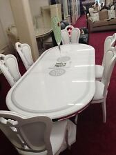 NEW GRETA LARGE ITALIAN WHITE HIGH GLOSS DINING TABLE & 6 FABRIC CHAIRS