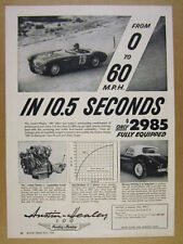 1955 Austin-Healey 100 car photo '0 to 60 in 10.5 Seconds' vintage print Ad
