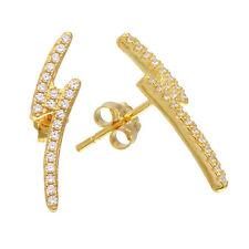 Sterling Silver Gold Plated Lightning Bolt CZ Stones Stud Earrings