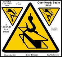 4 Inch Overhead Beam, Crane Safety Warning Decals Stickers. 3 count 2 Sizes.
