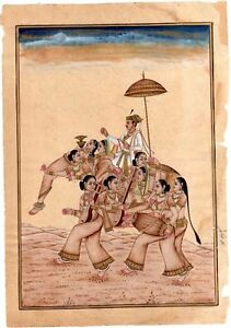 Indian Miniature Painting Finest Art Of Emperor Akbar Seated On Fancy Elephant