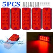 "5x 4"" Red 8LED Clearance Side Marker Light Indicator Lamp Truck Trailer Lorry RV"