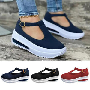 Women Round Head Wedge Shoes Buckle Strap Sandals Vintage Breathable Leather