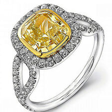 Platinum Fancy Yellow Cushion Cut GIA Certified Diamond Engagement Ring 3.25 CT