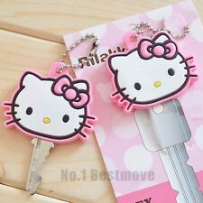1Pcs Pink Hello Kitty Key Cap Cover Key Chain