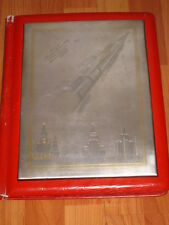 BIG Soviet Cupronickel Plaque SPACE ROCKET VOSTOK SPUTNIK Gilding Russian USSR