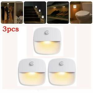 3X LED Nachtlicht Set mit-PIR Bewegungsmelder Batterien Nachtlampe Treppenlicht