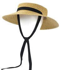 Women's Vintage Straw Boater Hat Wide Brim Flat Top Straw Hats Floppy Beach Hat