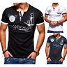 Herren V-Neck T-Shirt Slim Fit Poloshirt Kurzarm Dunkelgrau/Schwarz/Weiß NEU