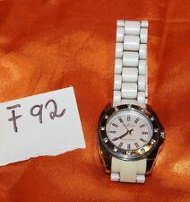 ANNE KLEIN White Dial Crystal Bezel White Plastic Band Women's Watch F92