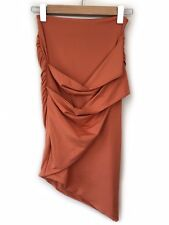 Kookai Orange Pencil Skirt Size 1 XS Ruched Cross Over Wrap Fitted Bodycon