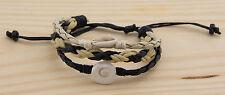 Bracelet cuir Oeil de Sainte Lucie et Cauris Shiva  wrap noir blanc 1018 D1