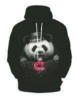 Funny 3D Print Panda Eats Doughnut Pullover Hoodie Sweatshirts Jumper Coat