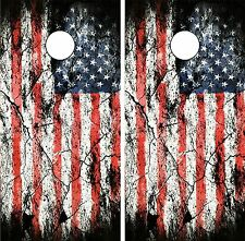 C197 Distressed Flag Cornhole Board Wrap LAMINATED Wraps Decals Vinyl Sticker